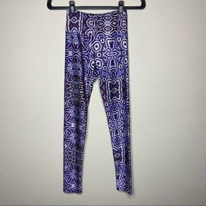GOLDSHEEP Purple Blue Tie Dye Ikat Leggings Small